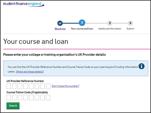 An image form the SFE ALL application page with fields for the learner to enter their provider's details.