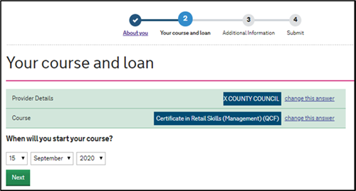 An image of the SFE ALL application page with fields for the learner to enter their course start date.