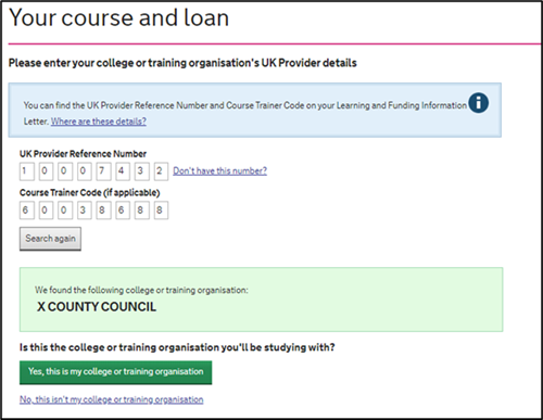 An image of the SFE ALL application page with results after the learner has searched for their provider details.