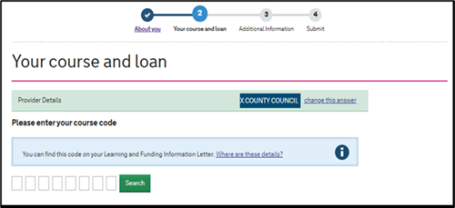 An image of the SFE ALL application page with fields for the learner to enter and search for their course code.